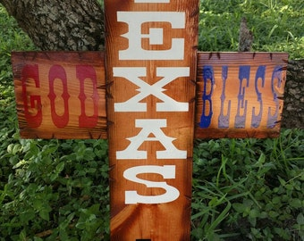 Large God Bless Texas Cross