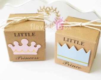 """20x Little Prince or Princess Favour Boxes 5 cm (2"""") • Bomboniere • Baby Shower • Christening • Chocolate Box • Thank You Favor"""