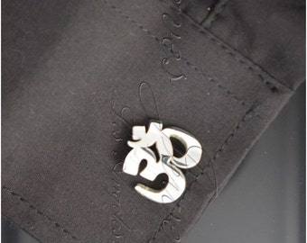 Om Aun Yoga Symbolo Cufflinks made on Sterling Silver 925