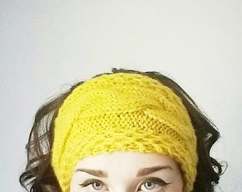 Braided Honeycomb Hand Knitted Headband/Earwarmer/Featured In Mustard