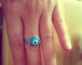 Evil Eye Ring, Greek Ring, Greek Mati Protective Eye, Wire Wrapped Ring, Midi Ring, Ethnic Boho, Talisman Eye, Statement Ring, Greek Jewelry