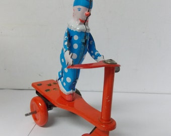 Vintage Roli Zoli Wind-up Circus Clown on Tricyle Lemezarugyar Tin Toy