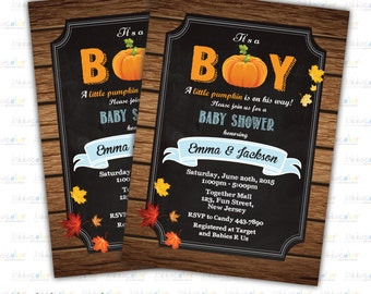 Digital Printable Pumpkin Baby Shower Invitation. Baby boy Shower Invitation. Little Pumpkin Baby Shower invite
