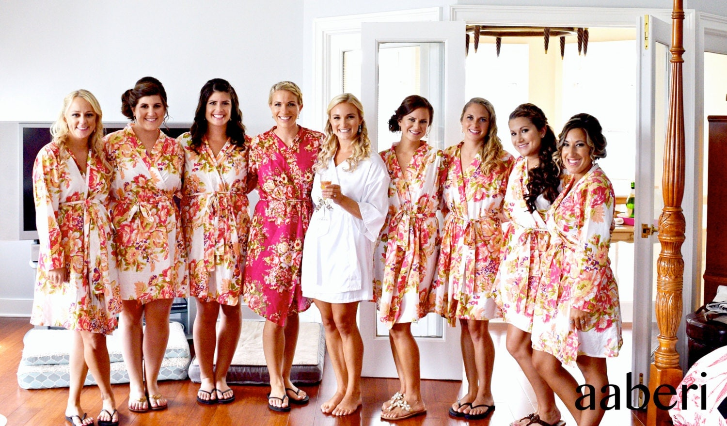 Floral Bridesmaid Robes. Bridal Robe. Getting Ready By Aaberi