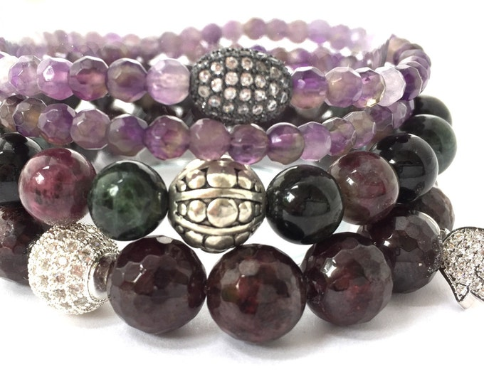 Personal Health and Healing Stack. Double wrap Amethyst, Tourmaline and Garnet stack bracelets. With Tibet and accent pave bands and charms.