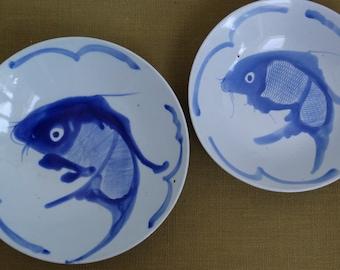 Porcelain koi fish etsy for Koi fish bowl