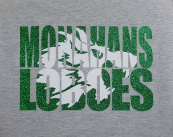 Custom Team or School Shirt -Monahans Loboes shown - Customize for your team, mascot and colors! Knock out design