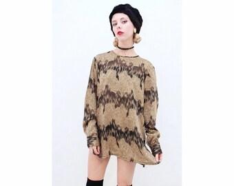 Vintage - Retro - Metallic - Batik - Pattern - Stunning - Semi Sheer - Black & Gold - Glam - Blouse - Top - Shirt - AUS 12 - M - Medium