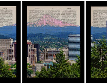 Portland Oregon Panorama Three Set Dictionary Art Print Pdx Skyline Mt Hood Triptych Wall Art Home Decor da938