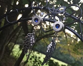 Winged Winchester Bullet Casing earrings