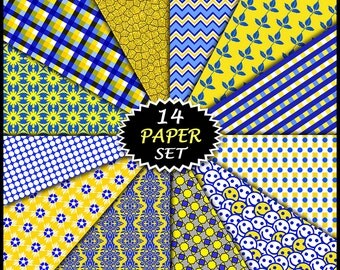 "Blue & Yellow Digital Paper - 14 Printable Paper Sheets - 12x12"" Scrapbooking Backgrounds - Digi Handmade Craft Papers - Commercial Use Ok"