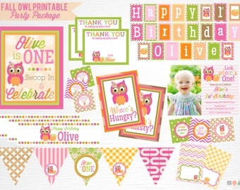 Fall Owl Birthday Party Printable Package YOU Print