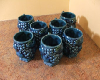 Set of Seven (7) Vintage 1960's INARCO JAPAN Blue Mood Indigo Cups / Mugs