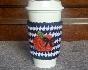 Crochet Pumpkin Travel Mug Sleeve