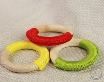 Crochet Teething Ring Set of 3 Teething ring Wood ring Twething toy Baby Toy Baby shower Baby gift Crochet baby toy
