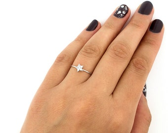 Sterling Silver 925 Star ring delicate tiny Micro Pave clear CZ Star STACKABLE RING band (R-20)