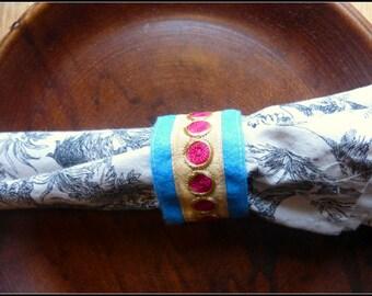 Felt Napkin Rings - Embroidered Felt napkin rings - Ribbon Embroidered Napkin Rings - Set of 4 - Blue Felt Rings- Pink ribbons