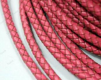 5mm Watermelon Genuine Bolo Leather, Watermelon Woven Braided Leather Strap-1 Yard, BP5M-55
