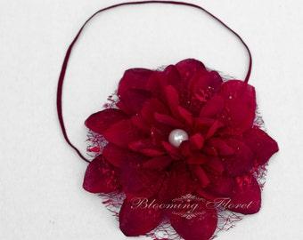 "Red flower headband 5"" flower  headband Photo Prop  Photography prop red flower headband"