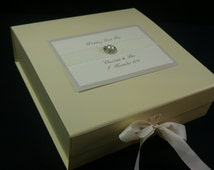 Personalised Wedding Keepsake Box, Memory box, Ivory Decorated With Satin Ribbon and a  Pearl Embellishment