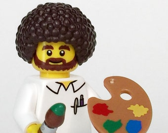 Bob Ross Custom MiniFigure genuine LEGO®  parts / Artist / Painter / Painting teacher / Instructor / Afro