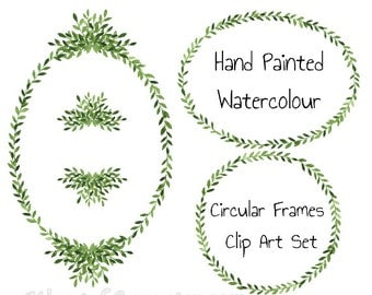 Watercolor Clip Art Frames Digital Clipart Wreath Laurel wreath Oval frames Round for wedding stationery