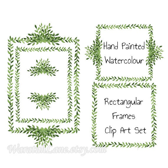 clip art laurel wreath frames watercolor clipart frames square frames digital frames woodland watercolor elements digital scrapbooking - Wreath Frames