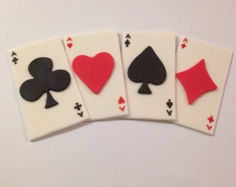 12 Edible Fondant Playing Cards/Casino Inspired Cupcake Toppers