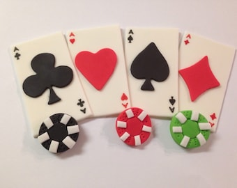 12 Edible Fondant Playing Cards/Poker Chips Inspired Cupcake Toppers