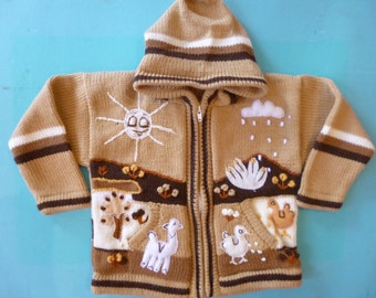 Size 4 Child's Sweater  Alpaca Blend Hand Knitted Zipper Front Hooded Hand made in Peru Applique Animals in Sunshine and Rain