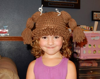 Cabbage Patch Doll Hat//Cabbage Patch Wig//Costume//Children's Hat//Winter Hat//newborn to adult//Pig tails//Braids//Ponytail// Curly//
