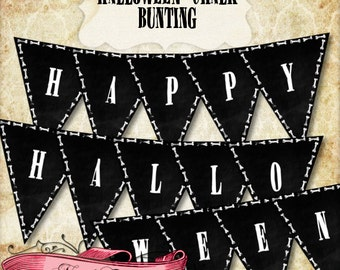 Halloween Chalk Bunting, Happy Halloween Banner, Printable Banner, INSTANT DOWNLOAD!