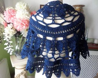 Crochet shawl,   leaf pattern wrap,  midnight blue yarn,  lurex thread, openwork shawl, lacy leaf design, pointed edging, other colours