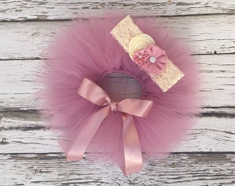 Newborn tutu. Baby tutu set. Pink tutu. Picture outfit. Dusty rose tutu. Newborn photo prop. Shower gift.