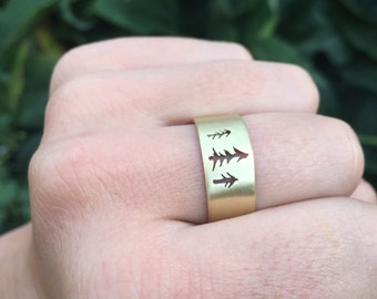 Men's wide band tree ring - tree cutouts in bronze