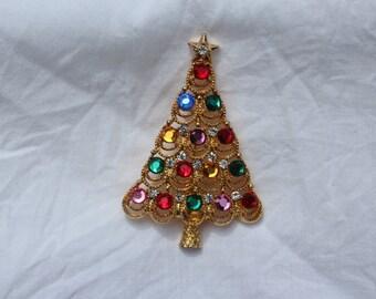 Holiday, Jeweled Christmas tree pin, Signed Eisenberg Ice
