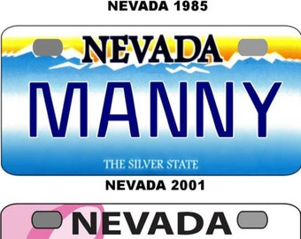 Personalized Nevada 1975, 1985, 2001, Pink, Battle BICYCLE replica license plate accessory overlaminated
