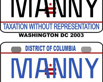 Personalized Washington DC 2003, 2013 BICYCLE replica license plate accessory overlaminated