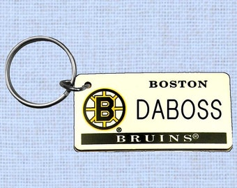Personalized Boston Bruins keychain - key ring