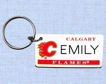 Personalized Calgary Flames keychain - key ring