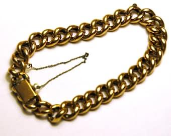Vintage 9k Gold Chain Link Bracelet, Large Vintage Gold Bracelet