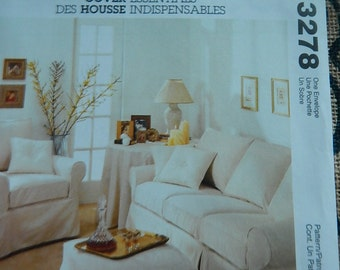 McCalls 3278 Home Decor Furniture Slip Covers Sewing Pattern Brand New Uncut