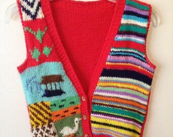 Vintage 70s hand knit decorative red button-up sweater vest sz S M L