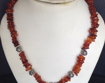 Amber necklace, Handmade necklace, Amber jewelry, antique amber necklace 925 Silver Amber Necklace  AG-172