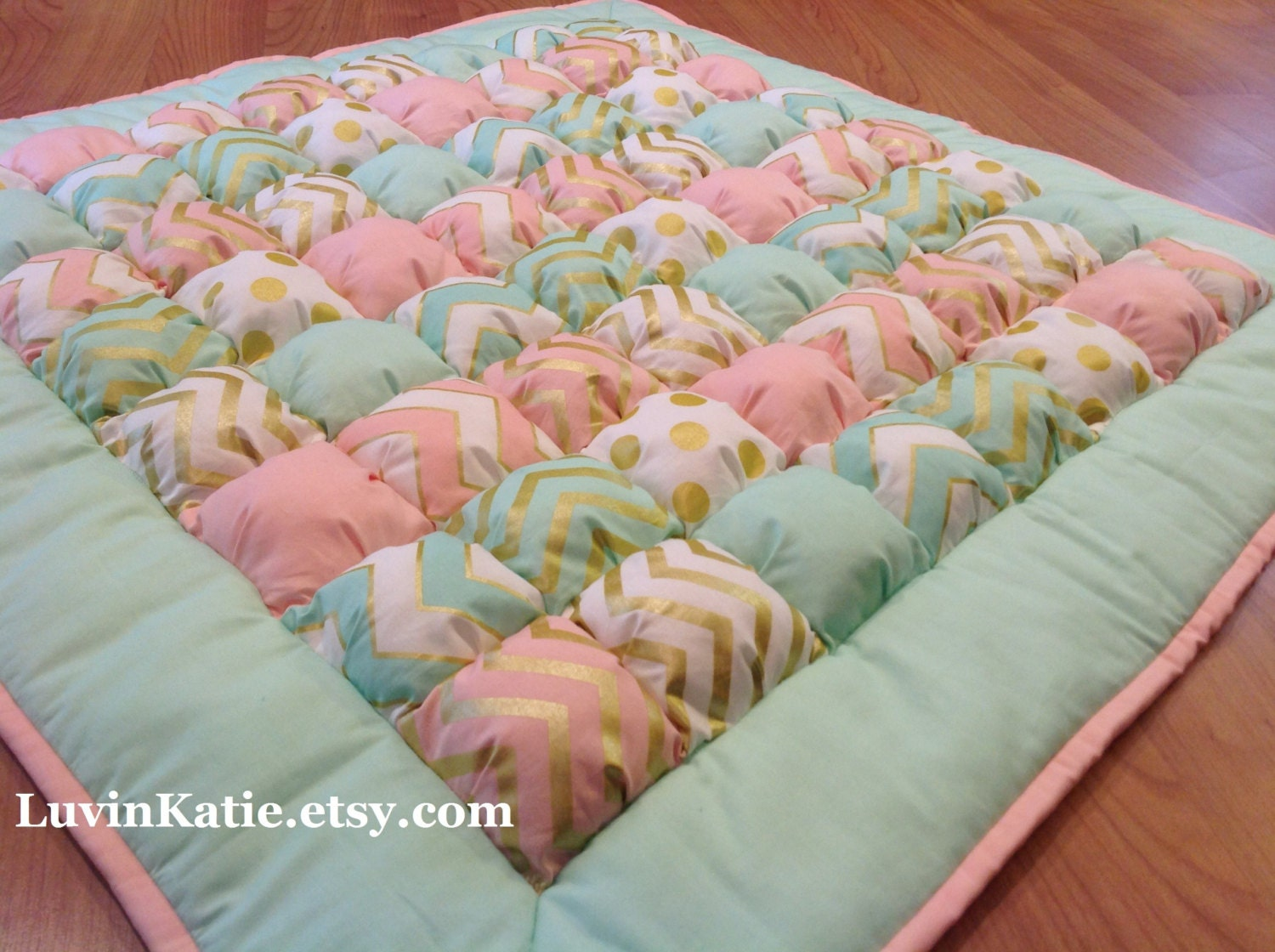 Bubble quilt puff quilt for baby floor time tummy time mat for Floor quilt for babies