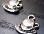 Teacup And Saucer Charm Pendant - 10/20/50 Wholesale Silver Plated Charm Findings C0013