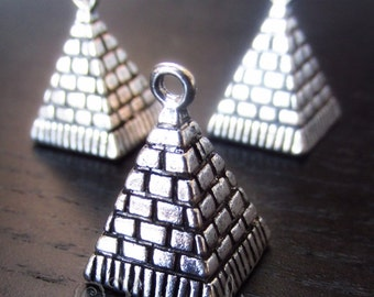 Egyptian Pyramid Charms - 2/5/10 Wholesale Pyramid Of Giza Antiqued Silver Plated Findings C9507