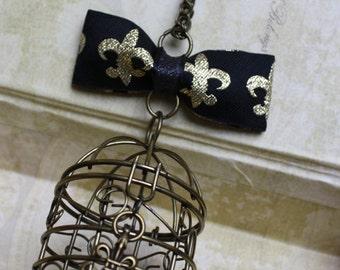 Birdcage Bow Lolita Necklace - Bronze