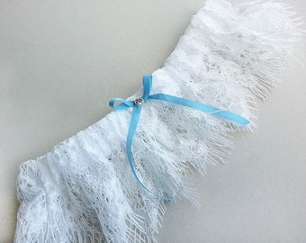 Bridal garter blue silk bow - white chantilly lace, something blue silk bow, Swarovski crystal - Cler