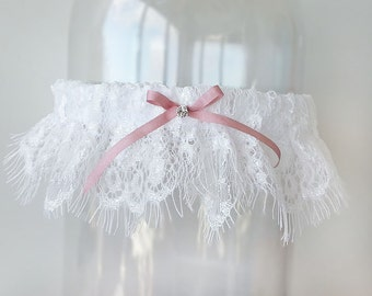 Bridal garter antique rose silk bow - white chantilly lace, pink silk bow, Swarovski crystal - Cler